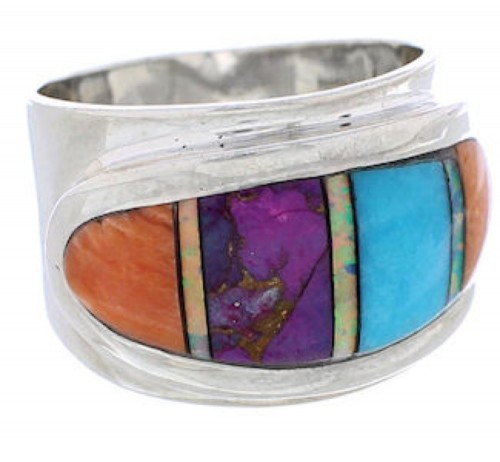 Sterling Silver And Multicolor Inlay Jewelry Ring Size 6-1/4 UX36203