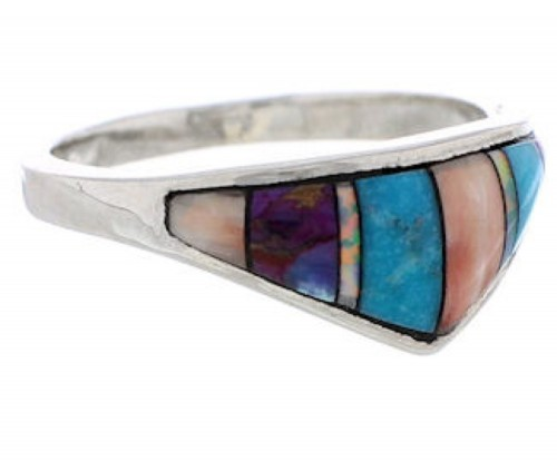 Silver And Multicolor Inlay Jewelry Ring Size 8-1/2 UX36233