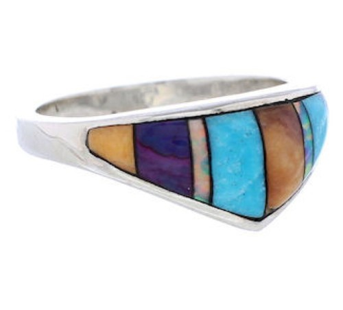Southwestern Sterling Silver Multicolor Inlay Ring Size 6-1/2 UX36234
