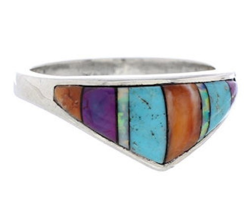 Authentic Sterling Silver Multicolor Inlay Ring Size 7-3/4 UX36477