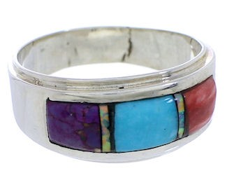 Sterling Silver And Multicolor Inlay Ring Size 6-3/4 EX50981