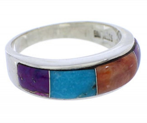Multicolor Southwest Genuine Sterling Silver Ring Size 8-3/4 JX37955