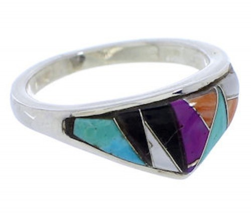 Silver Turquoise Multicolor Southwest Inlay Ring Size 7-1/2 JX37974