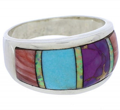 Sterling Silver Southwest Multicolor Ring Size 7-3/4 JX38116