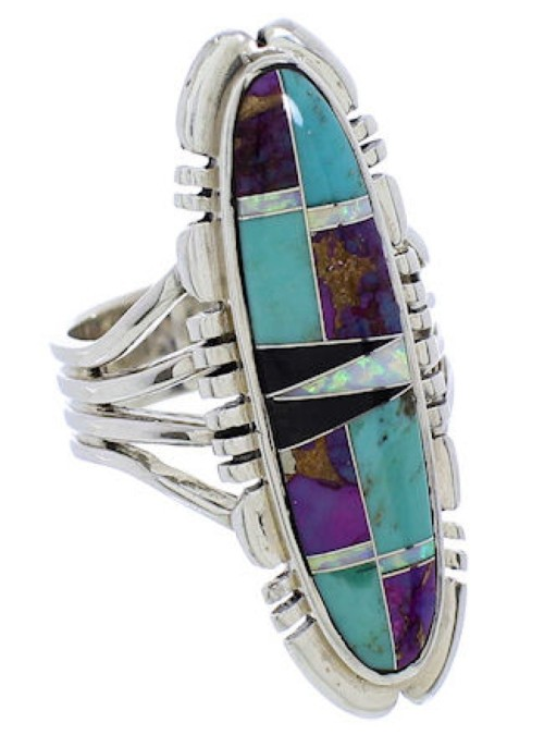 Multicolor Inlay And Sterling Silver Ring Size 6-3/4 DS43903