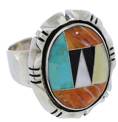 Sterling Silver Multicolor Inlay Ring Size 8-1/2 JX38246