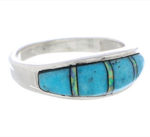 Genuine Sterling Silver Opal And Turquoise Ring Size 6-3/4 CX50633