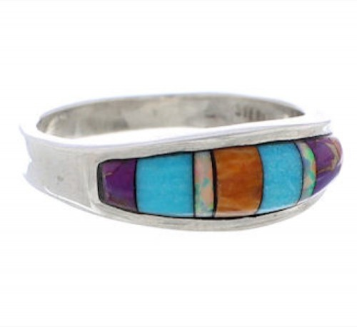 Southwest Multicolor Inlay Sterling Silver Ring Size 6-3/4 CX50640