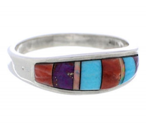 Southwest Multicolor Authentic Sterling Silver Ring Size 8-1/4 CX50661