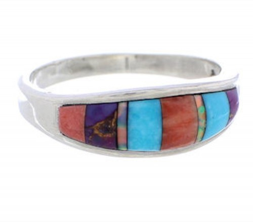 Multicolor Authentic Sterling Silver Southwest Ring Size 5-3/4 CX50666