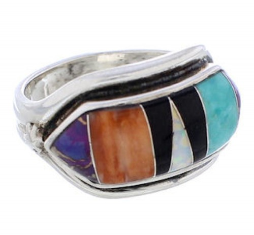 Multicolor Turquoise Inlay Sterling Silver Ring Size 6-1/2 RS38300