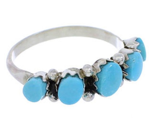 Zuni Jewlery Silver And Turquoise Ring Size 6 EX24241