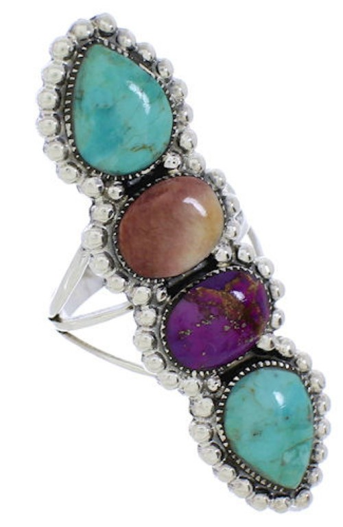 Multicolor Authentic Sterling Silver Southwest Ring Size 7-1/2 CX52569