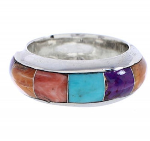 Multicolor Turquoise Sterling Silver Ring Band Size 5-3/4 AS44559