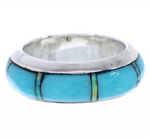 Turquoise Opal Inlay Jewelry Silver Ring Band Size 5-1/2 HS35639