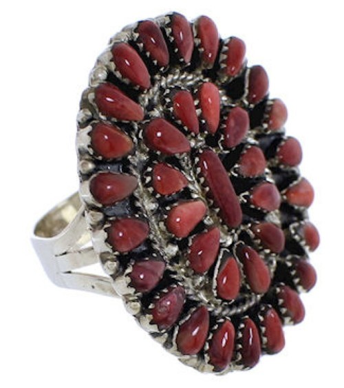 Red Oyster Shell Sterling Silver Ring Size 6-1/2 EX43731