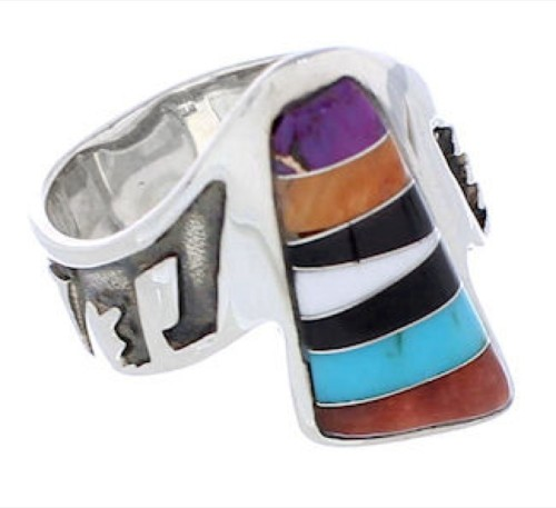 Multicolor Southwest Sterling Silver Ring Size 8-1/4 EX61128