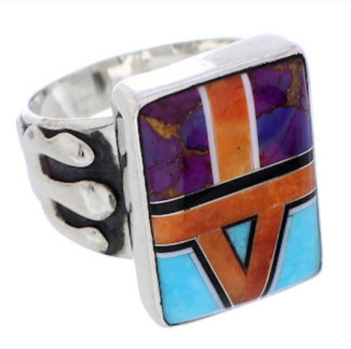 Southwestern Sterling Silver Multicolor Ring Size 8-1/4 EX61207