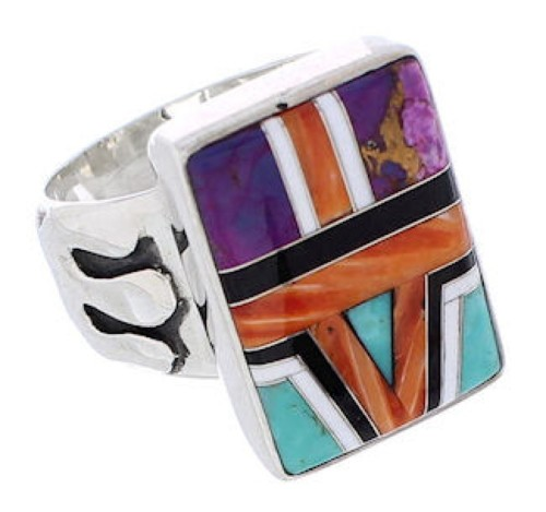 Multicolor Inlay Sterling Silver Ring Size 8-1/2 EX61223