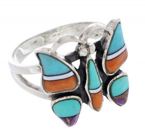 Multicolor Inlay Sterling Silver Butterfly Ring Size 6-3/4 EX61227