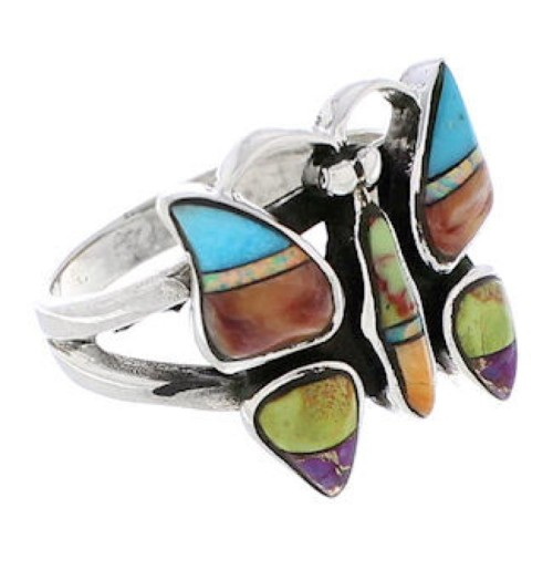Multicolor Sterling Silver Butterfly Ring Size 5-1/2 EX61249