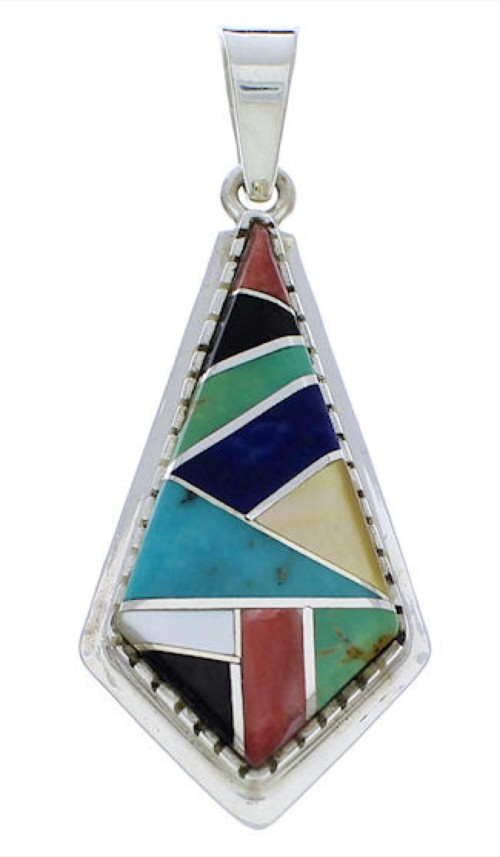 Silver and Turquoise Multicolor Slide Pendant PX23921