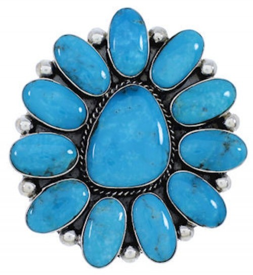 Turquoise Sterling Silver Large Statement Ring Size 9-1/2 YX35956