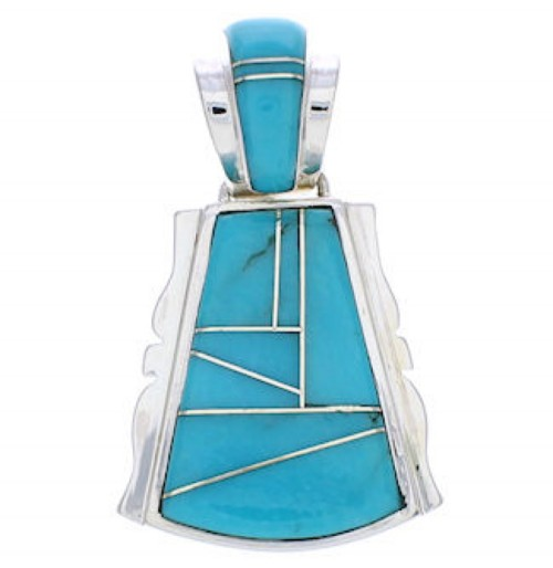 Turquoise Inlay Southwestern Silver Slide Pendant EX29720