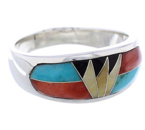 Multicolor Inlay Sterling Silver Southwest Ring Size 6-3/4 CX50069