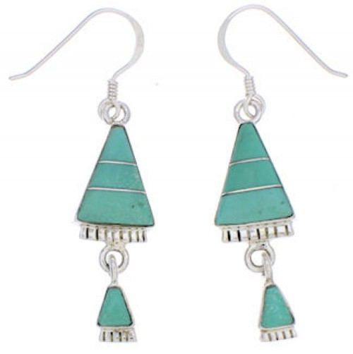 Turquoise Inlay Sterling Silver Hook Dangle Earrings FX31314