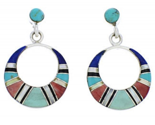 Southwestern Multicolor Turquoise Sterling Silver Earrings PX24155
