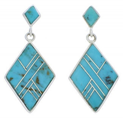 Turquoise Inlay Silver Post Dangle Earrings PX24182