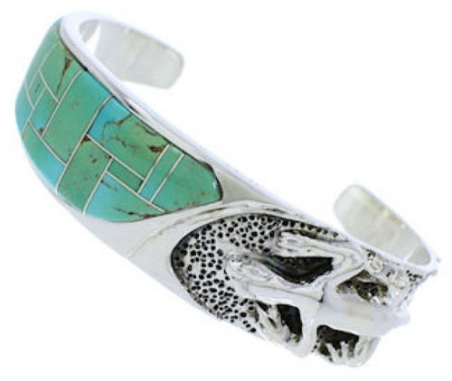 Lizard Genuine Sterling Silver Turquoise Inlay Cuff Bracelet FX27533