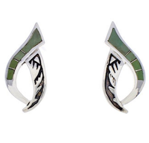 Southwest Sterling Silver And Turquoise Inlay Post Earrings JX23847