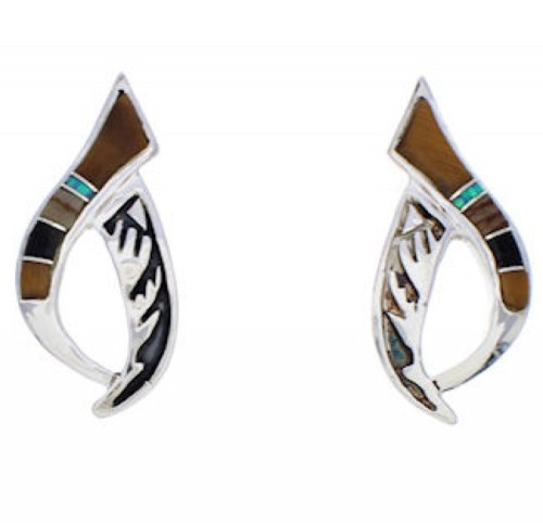 Multicolor Inlay Jewelry Sterling Silver Post Earrings JX23855