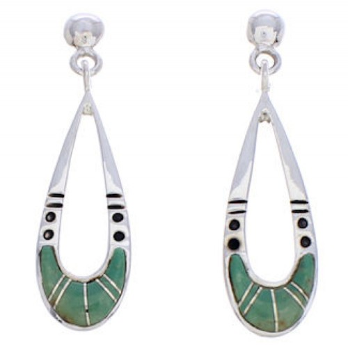 Sterling Silver Southwest Turquoise Inlay Post Dangle Earrings JX23882