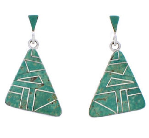 Turquoise Inlay Silver Post Dangle Earrings Jewelry JX24078