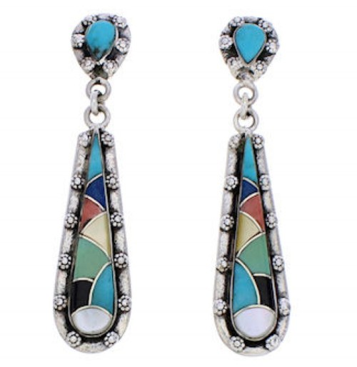 Genuine Sterling Silver Multicolor Inlay Post Dangle Earrings JX24167
