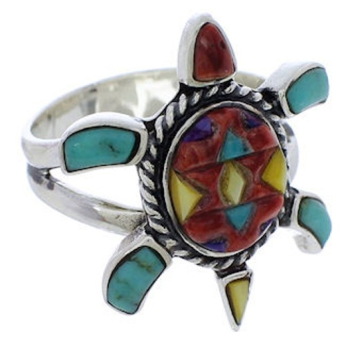 Multicolor Inlay Sterling Silver Turtle Ring Size 8-1/2 CX47140