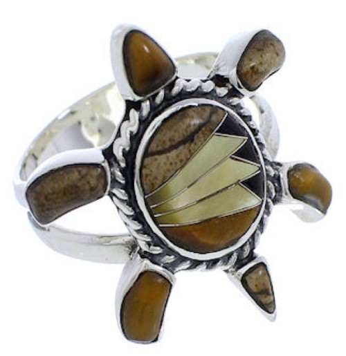 Silver Southwest Inlay Multicolor Turtle Ring Size 7-1/2 CX47201