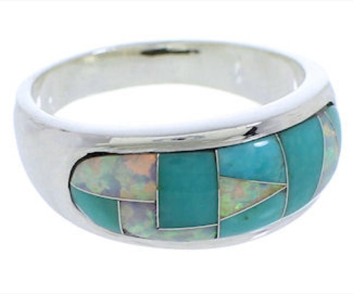 Turquoise And Opal Southwestern Silver Ring Size 6-3/4 EX50573