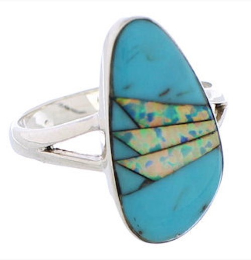 Opal Sterling Silver And Southwest Turquoise Ring Size 7-3/4 WX41636
