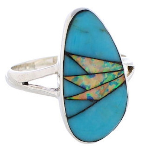 Southwest Opal Turquoise Inlay Sterling Silver Ring Size 8-3/4 WX41639