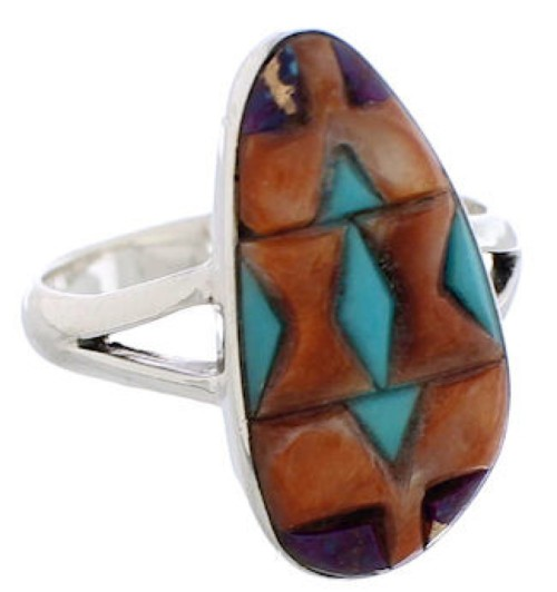 Multicolor Inlay Sterling Silver Southwestern Ring Size 7-3/4 WX41828