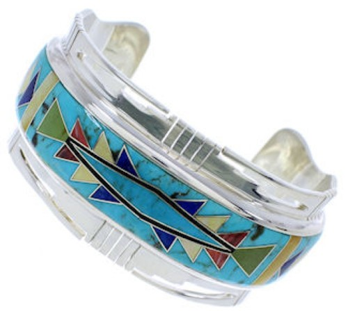 Southwest Jewelry Sterling Silver Multicolor Cuff Bracelet NX27293