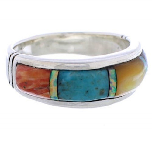 Genuine Sterling Silver Multicolor Inlay Ring Size 6-3/4 ZX35477