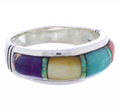 Genuine Sterling Silver Multicolor Southwest Ring Size 7-3/4 ZX35518