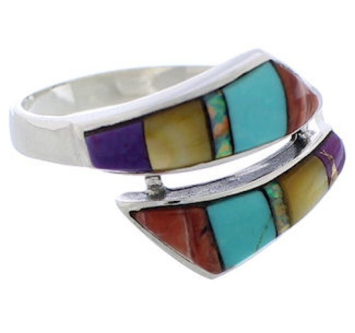 Multicolor Inlay And Genuine Sterling Silver Ring Size 6-3/4 ZX35758
