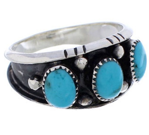 Genuine Sterling Silver Turquoise Ring Size 7-3/4 WX36791