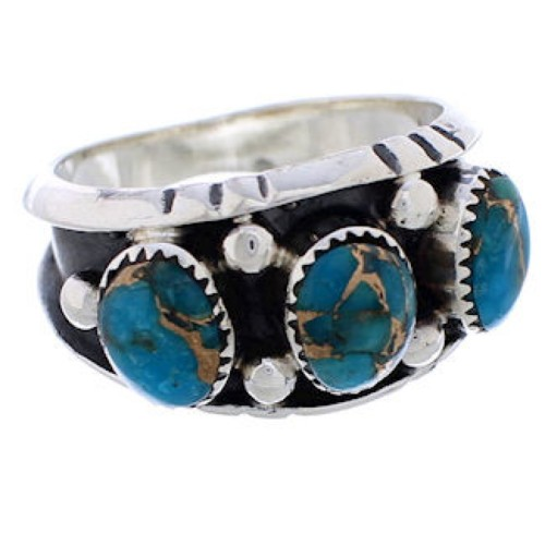 Southwestern Sterling Silver Turquoise Jewelry Ring Size 7-1/2 WX37027